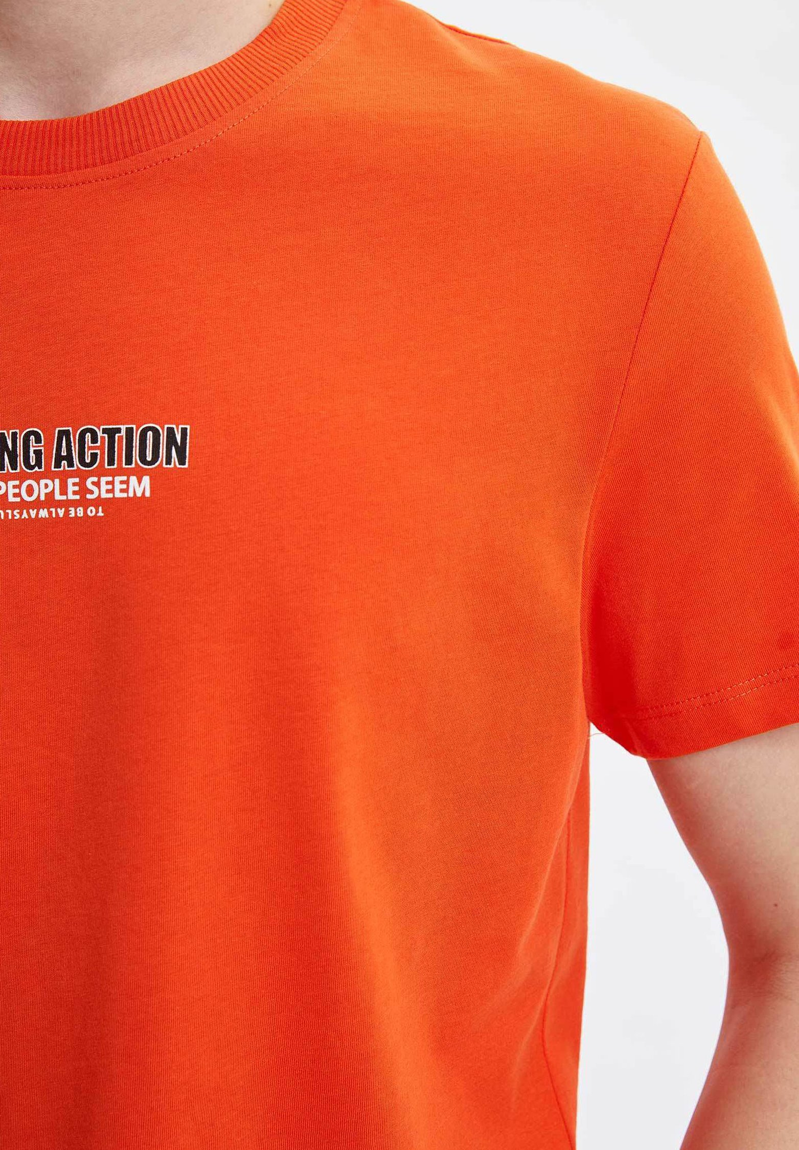 DeFacto Print T-shirt - orange i01BY