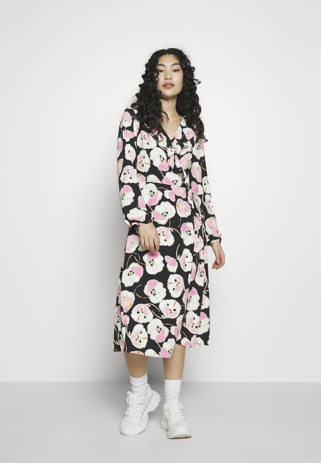 ABSTRACT POPPY FRILL MIDI - Vapaa-ajan mekko - black