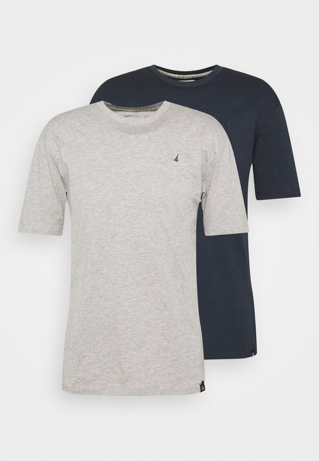 CHEST 2 PACK - T-shirt basic - navy/grey marl