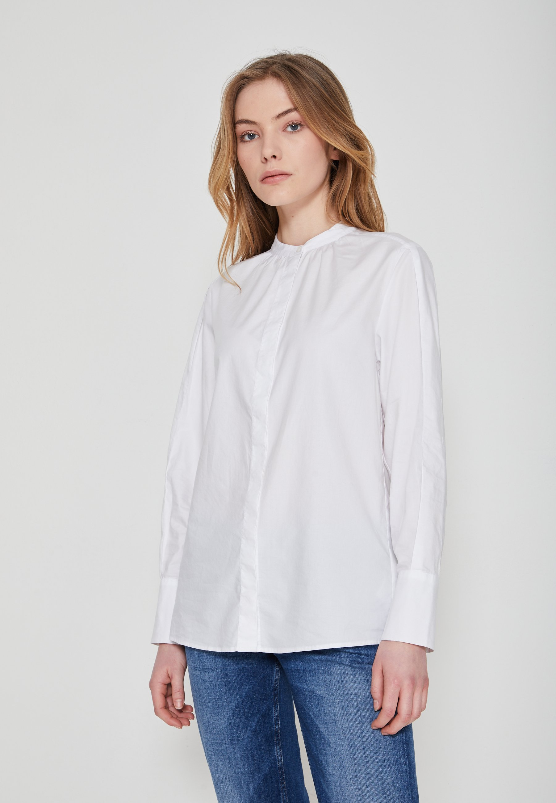 Women BLOUSE LONG SLEEVE STAND UP COLLAR - Blouse