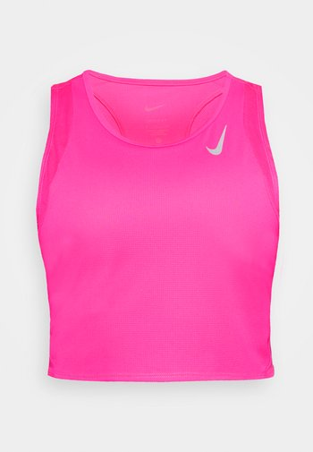 RACE CROP - Top - hyper pink/silver