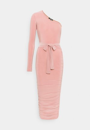ONE SHOULDER SLINKY DRESS - Shift dress - blush