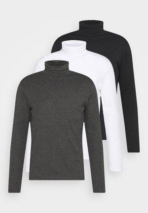 3 PACK - Bluzka z długim rękawem - black/dark grey/white