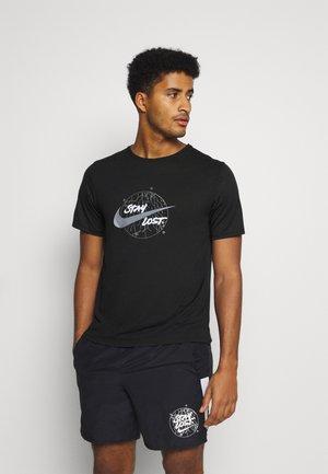 MILER - Print T-shirt - black/silver