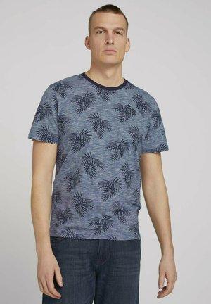 Print T-shirt - offwhite navy stripes