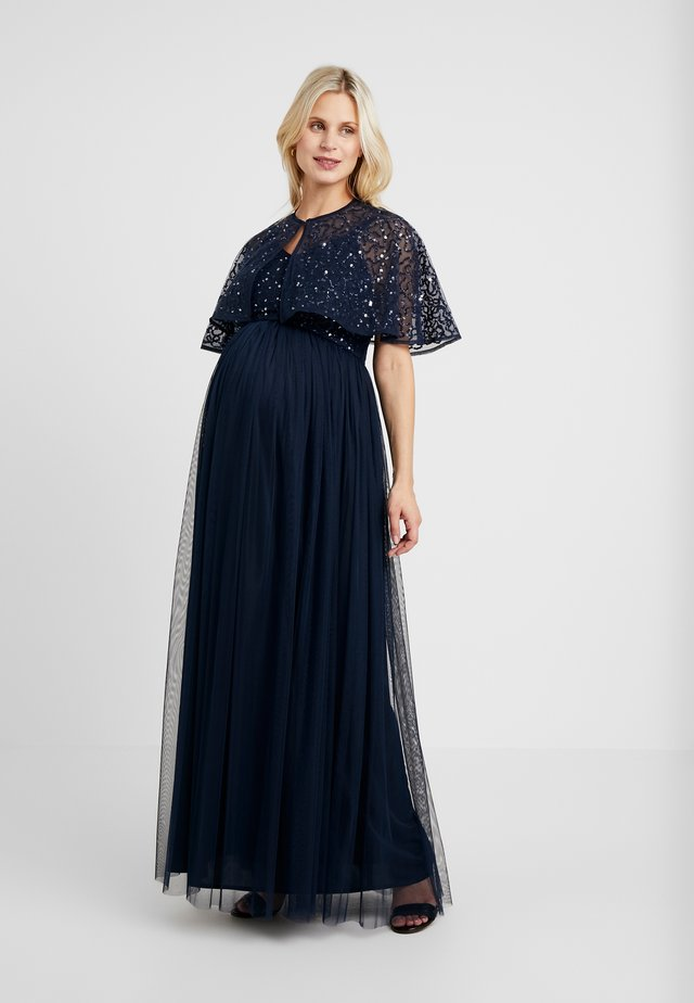 CAPE OVERLAY DELICATE SEQUIN MAXI DRESS - Galajurk - navy