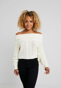 Missguided Petite - BARDOT CABLE CROP JUMPER - Strickpullover - cream - 0