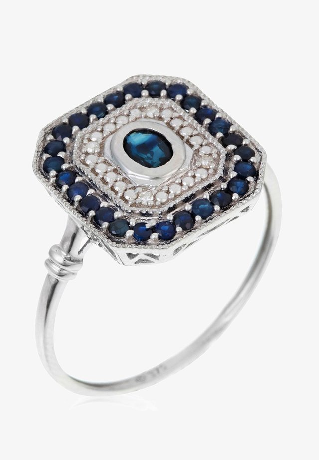 WHITE GOLD RING 9K CERTIFIED SAPPHIRE 0.25 CT. 26 SAPPHIRES 0.82 CT AND 4 DIAMONDS HP1 0.22 CT - Bague - silver