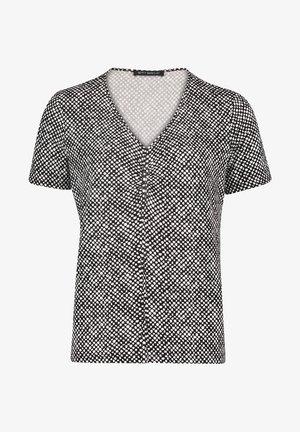 PRINT MIT RAFFUNG - Blouse - schwarz/weiß