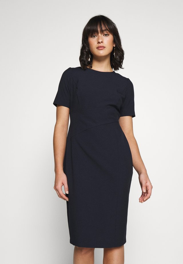 PETITE CONTOUR SEAM SHORT SLEEVE DRESS - Pouzdrové šaty - navy