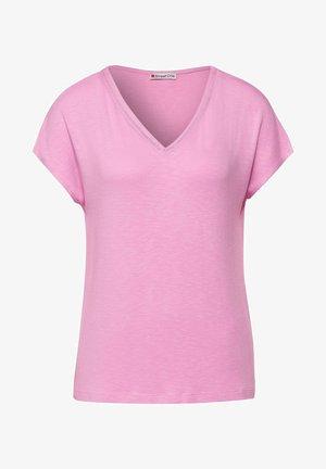 MIT STRICK DETAIL - Basic T-shirt - rosa