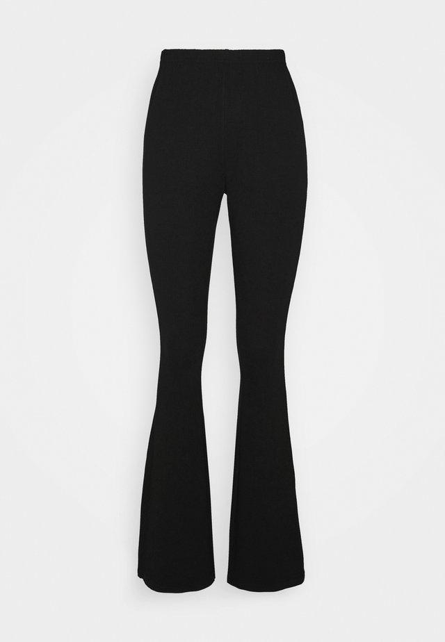 JERSEY RIB FLARE - Pantalon classique - black
