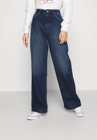NU-IN - HIGH RISE WIDE LEG JEANS - Relaxed fit jeans - dark blue wash - 0