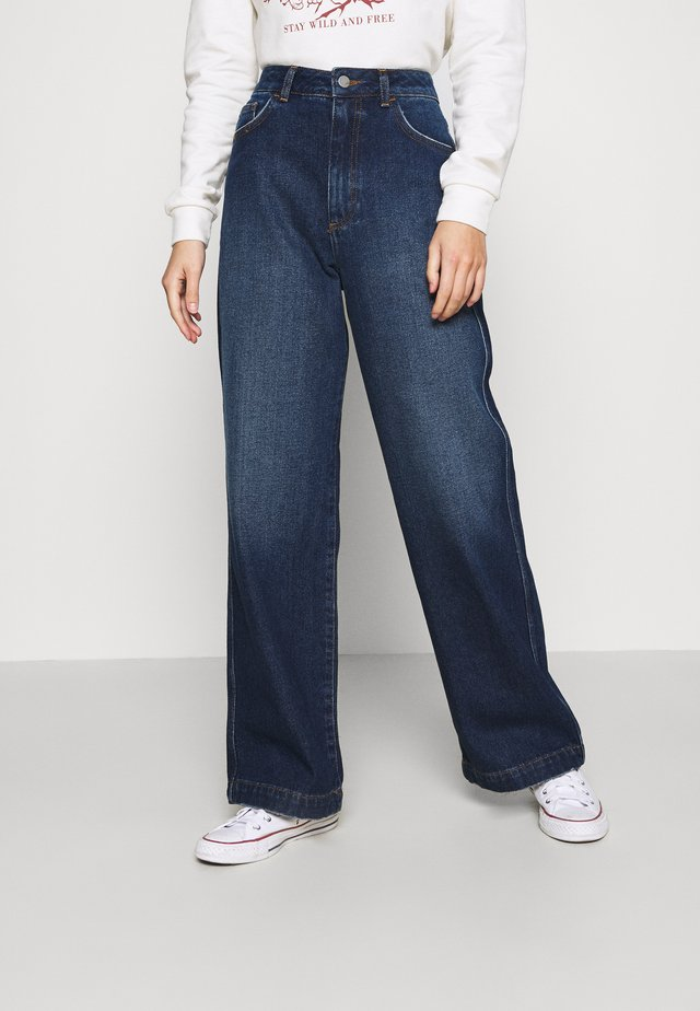 HIGH RISE WIDE LEG JEANS - Jeans relaxed fit - dark blue wash
