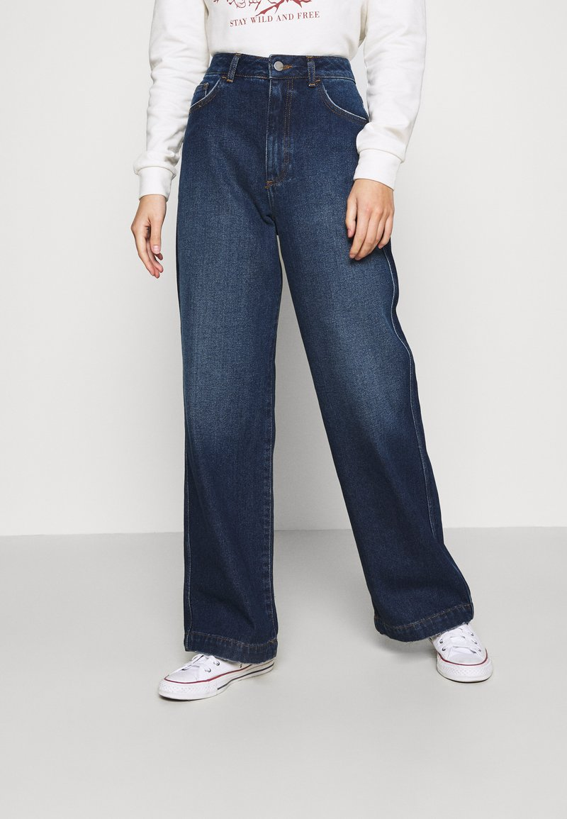 NU-IN - HIGH RISE WIDE LEG JEANS - Relaxed fit jeans - dark blue wash