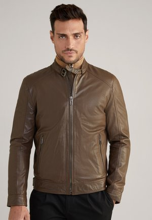 PEEL - Leather jacket - dunkelbraun