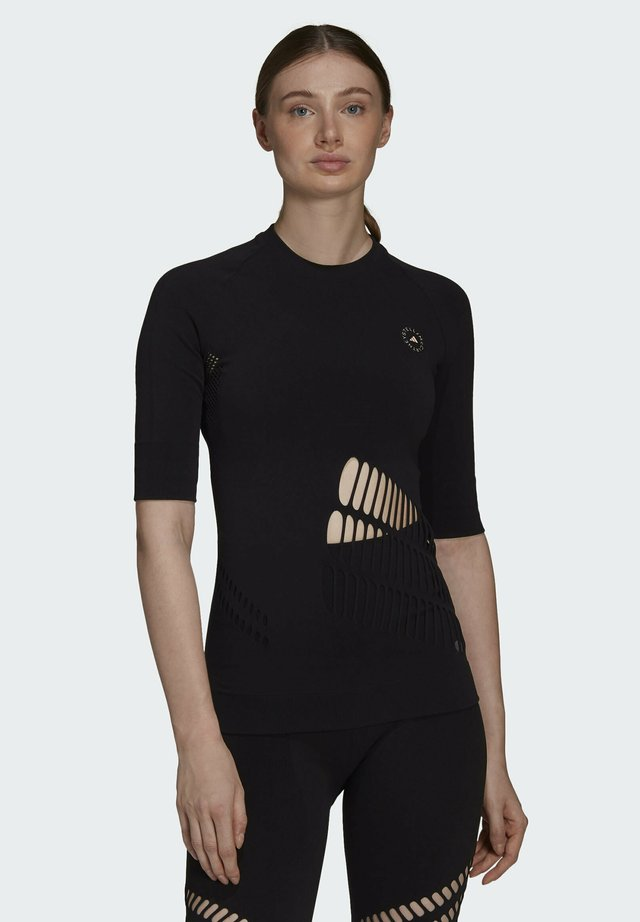 ADIDAS BY STELLA MCCARTNEY TRUESTRENGTH WARP KNIT T-S - Printtipaita - black