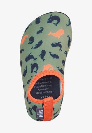 First shoes - dark green mottled
