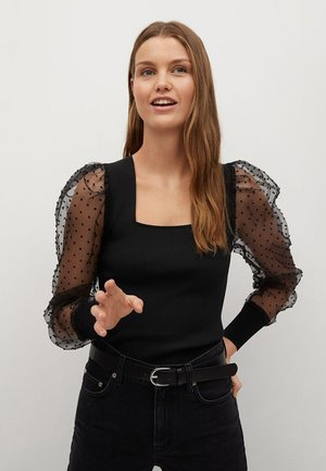 LACY - Long sleeved top - zwart
