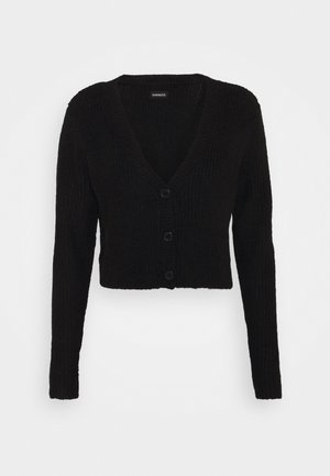 CROPPED RIBBED CARDIGAN - Kardigan - black