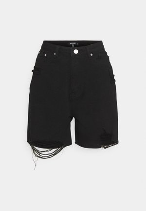 DISTRESS - Denim shorts - black