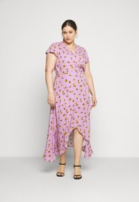 Lost Ink Plus - FLORAL WRAP DRESS - Day dress - purple - 0