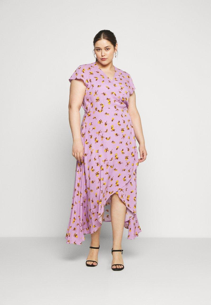 Lost Ink Plus - FLORAL WRAP DRESS - Day dress - purple