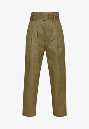 BELTED PLEAT WAIST PEG TROUSER - Spodnie materiałowe - khaki