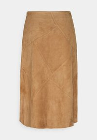 More & More - PATCHED SKIRT - Leather skirt - powder sand - 1