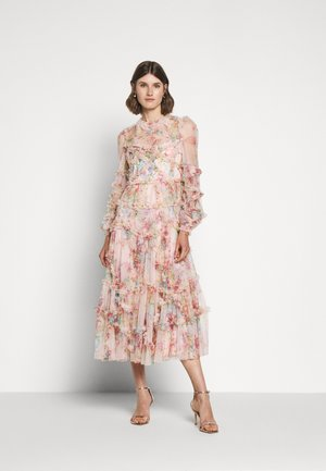 FLORAL DIAMOND RUFFLE BALLERINA DRESS - Occasion wear - topaz pink