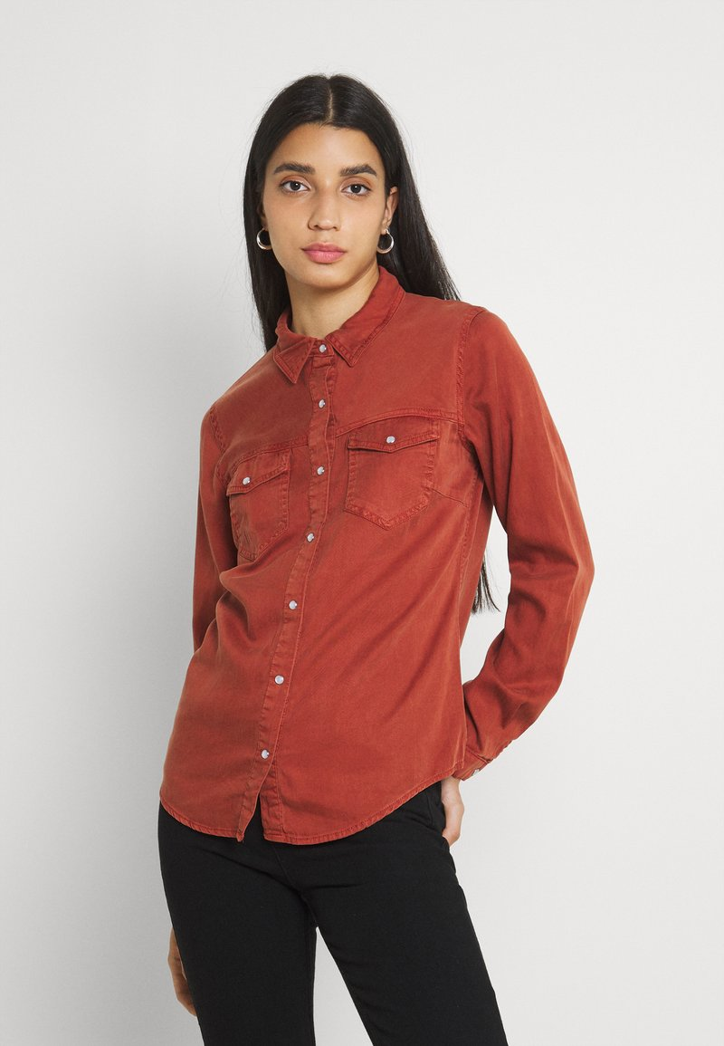 Vila - Button-down blouse - burnt henna