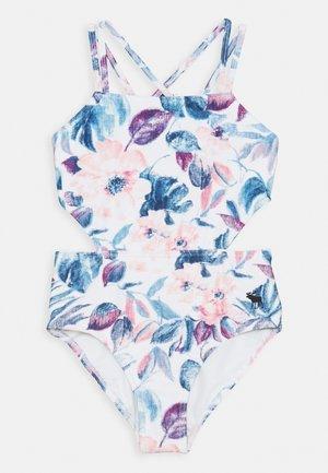 KEYHOLE HALTER - Badeanzug - white/blue