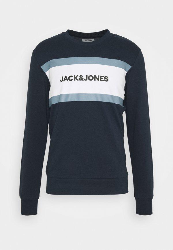 Jack & Jones JJSHAKE CREW NECK - Bluza - navy blazer/granatowy Odzież Męska VUFR