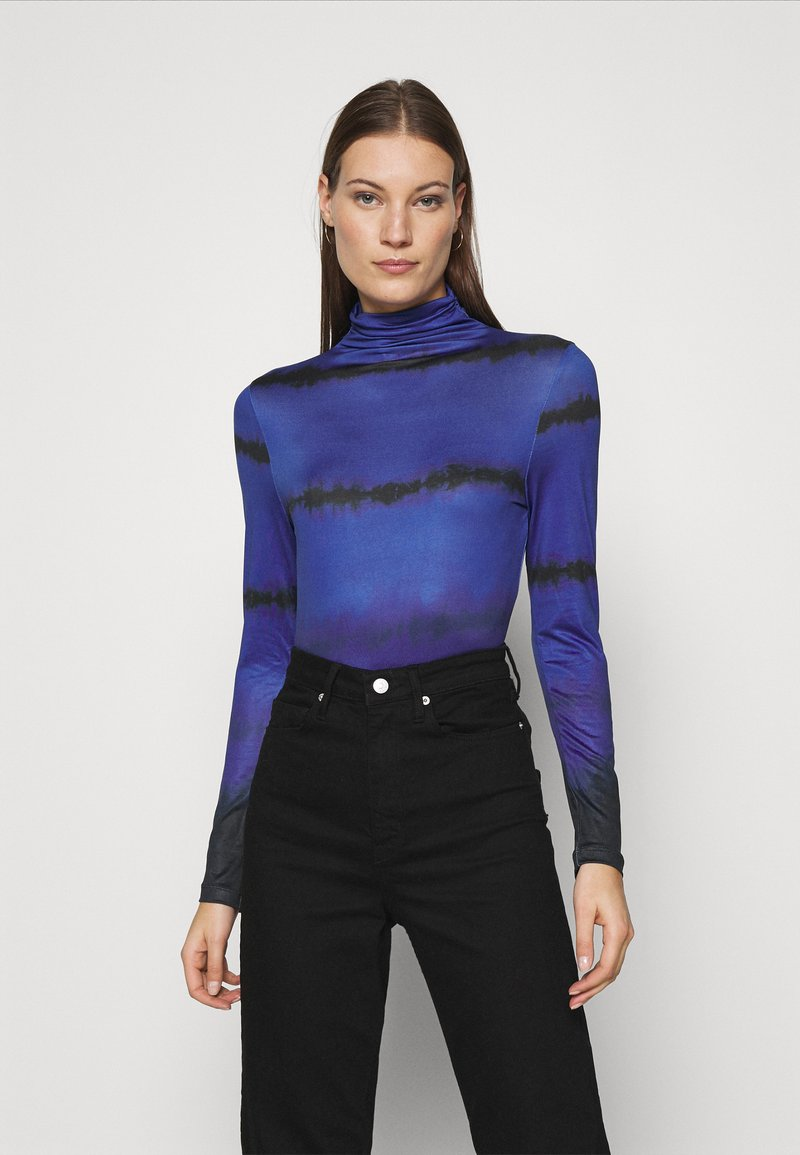 Who What Wear - RUCHED TURTLENECK - Long sleeved top - blue