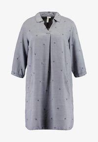 EMBROIDERED  DRESS - Denimové šaty - grey