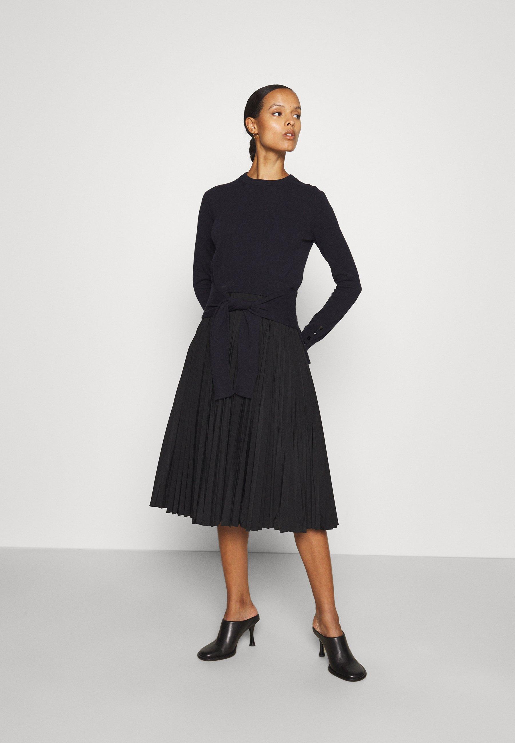 Women WAIST TIE COMBO DRESS PLEATED SKIRT - Day dress
