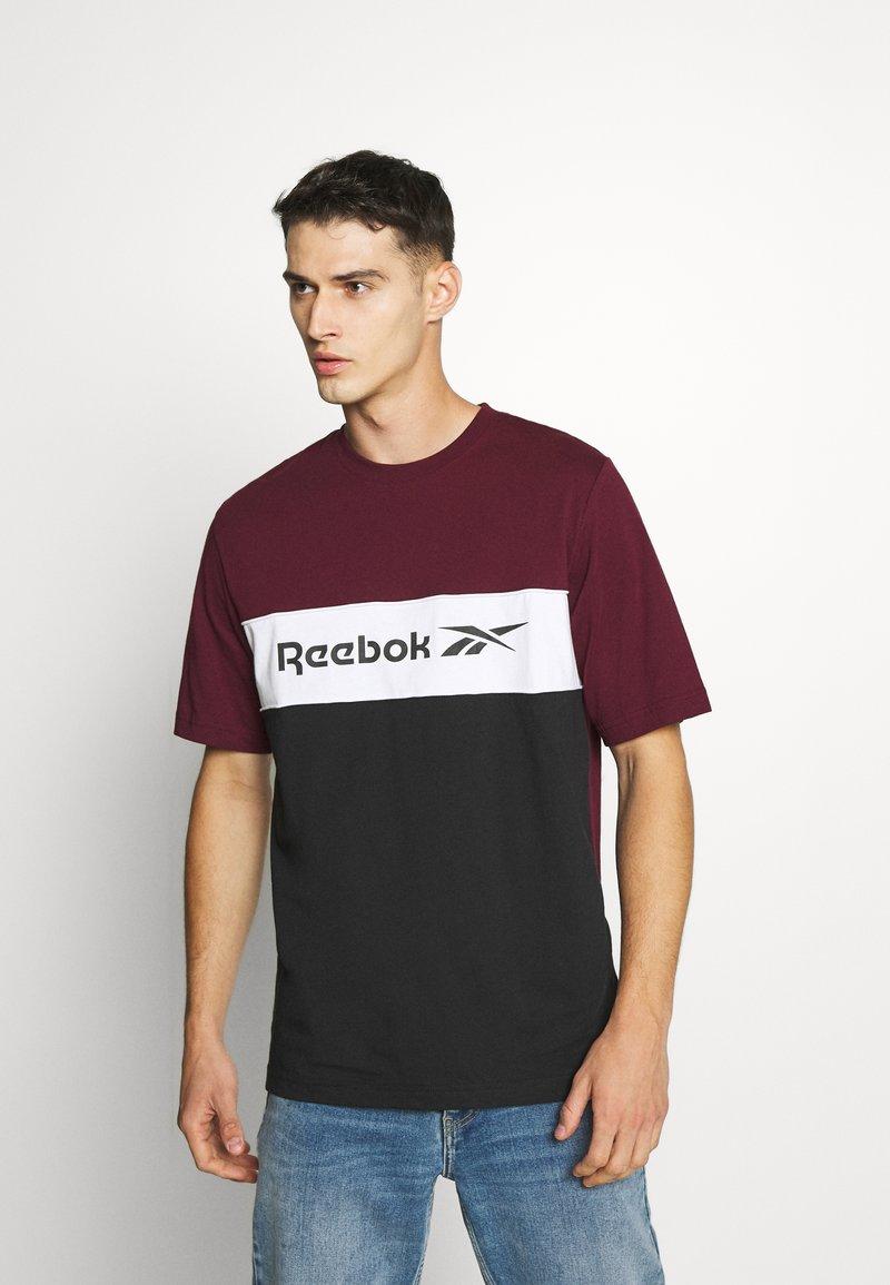 Reebok Classic - LINEAR TEE - Print T-shirt - maroon
