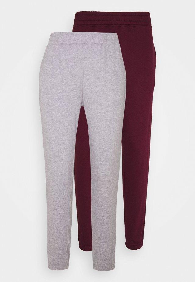 BASIC JOGGER 2 PACK - Pantaloni sportivi - grey/burgundy