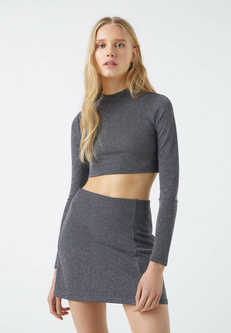 PULL&BEAR - A-line skirt - mottled dark grey