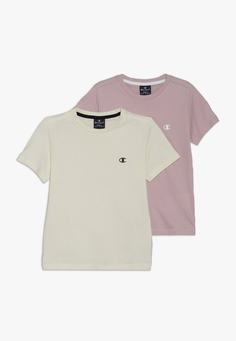 Champion - BASICS CREW NECK 2 PACK - Basic T-shirt - lilac/off-white