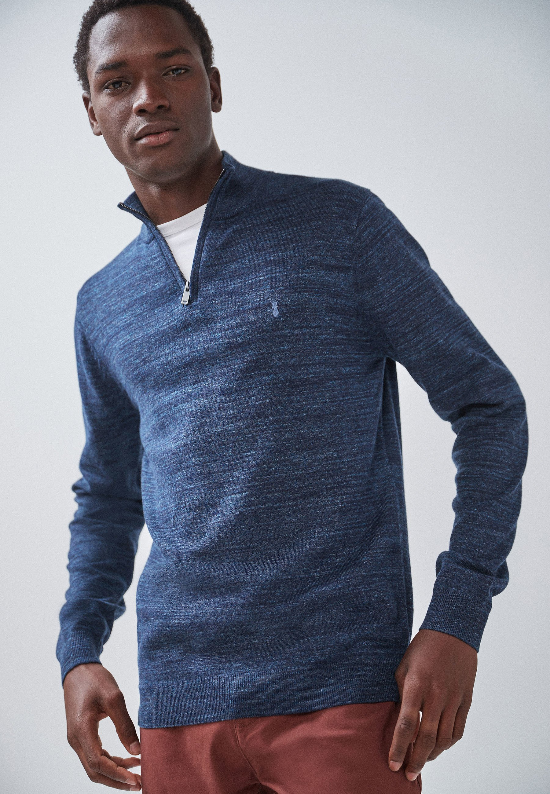 Homme LIGHT BLUE MARL ZIP NECK - Pullover