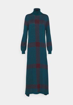 SUPERFINE CHECKED DRESS - Robe pull - emerald/raisin