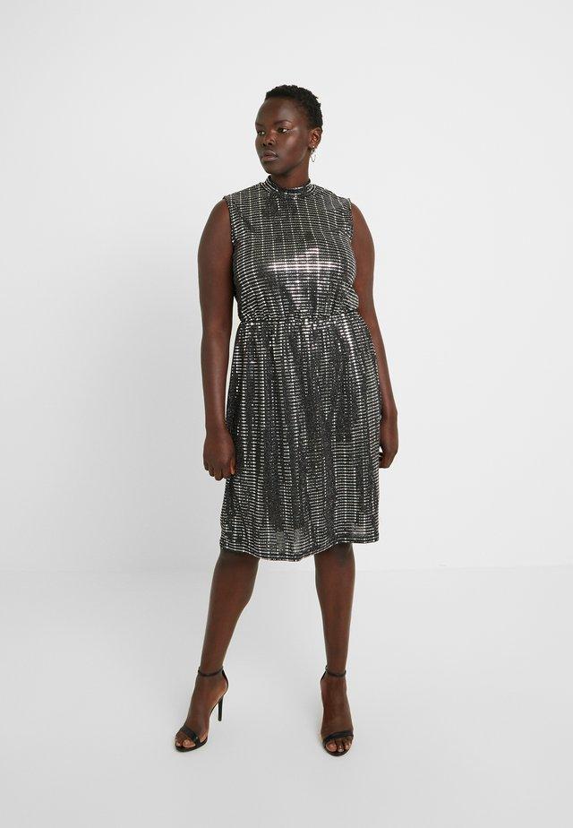 JRIRUK BELOW KNEE DRESS - Day dress - black/silver