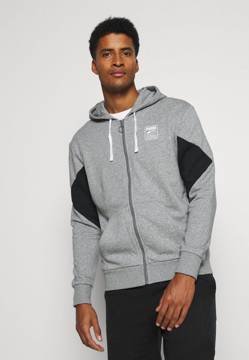 Puma - REBEL HOODIE  - Zip-up sweatshirt - medium gray heather
