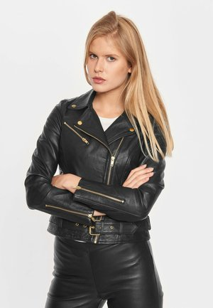 Leather jacket - black gold acc