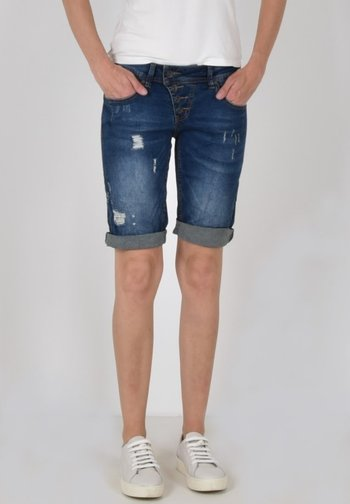 Denim shorts - destroy blue
