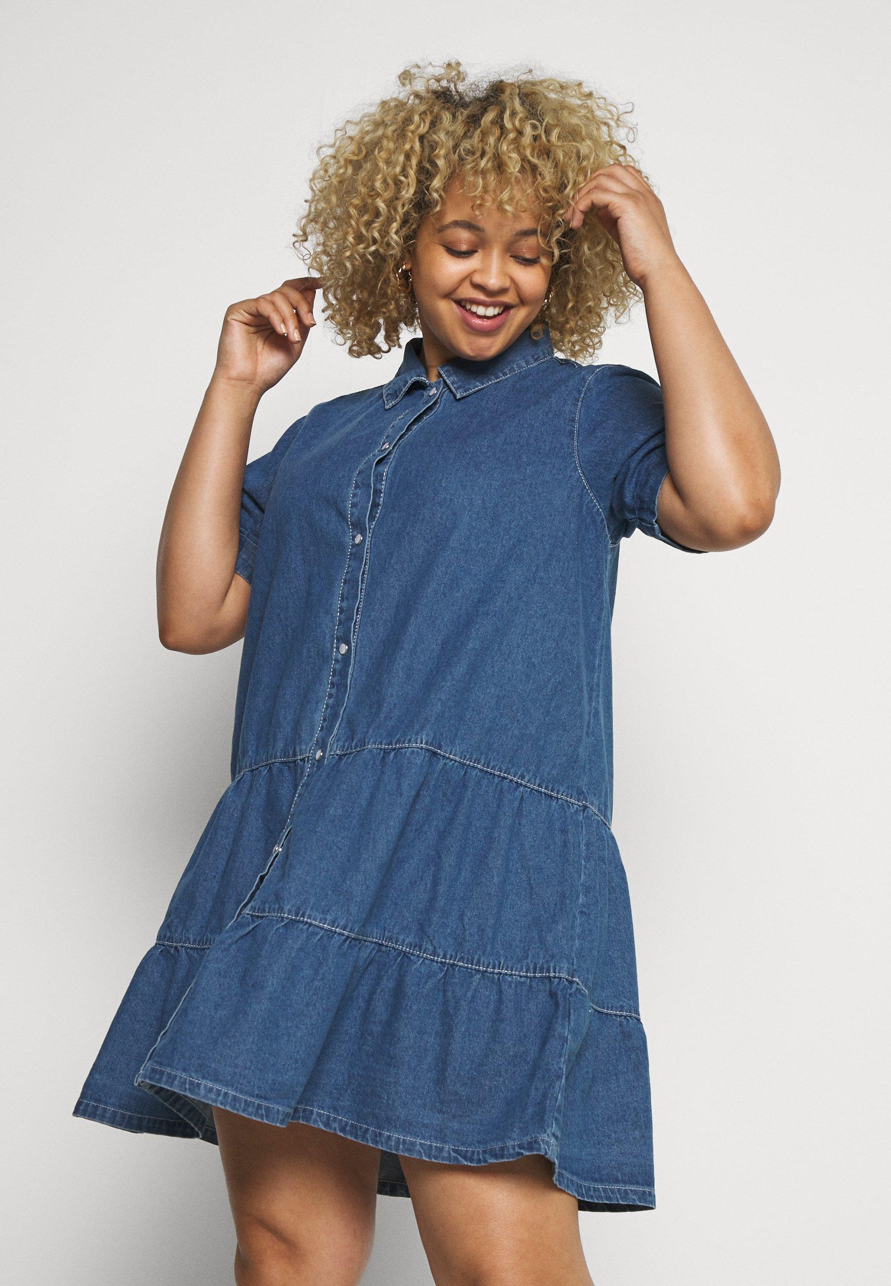 Women TIERED SMOCK DRESS - Shirt dress