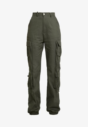 HIGH WAISTED CUFFED TROUSERS - Trousers - khaki