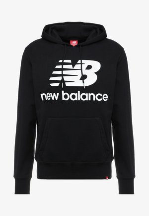 ESSENTIALS STACKED LOGO HOODIE - Kapuzenpullover - black