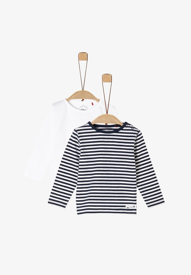 2 PACK  - Long sleeved top - white/navy stripes